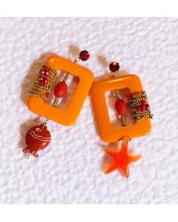 Orecchini Cornici arancio....INCORNICIATE