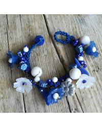 Kit Bracciale Blu Floreale - CON FILO