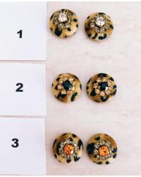 Bottoni Velluto MACULATO con strass ( senza asola )