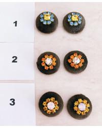 Bottoni Velluto MARRONE FANGO con strass ( senza asola )