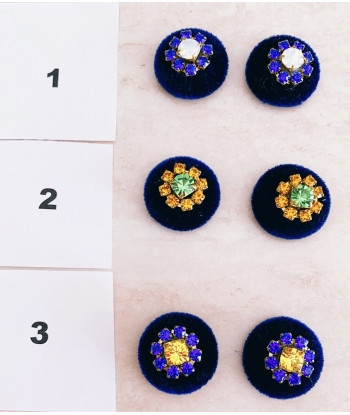 Bottoni Velluto BLU con strass ( senza asola )