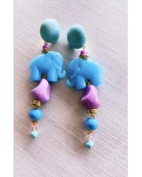 Kit Orecchini Elefanti Celesti e lilla