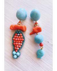Kit Orecchini Pesciolino in tessitura - Corallo e Tiffany