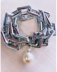 KIT BRACCIALE Maglie rettangolari argento - Chiusura piccola e Perla