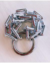 KIT BRACCIALE Maglie rettangolari argento - Chiusura anello grande