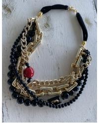 Collana Maglie oro e barilotto rosso