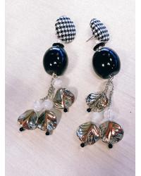 Kit Orecchini Foglie argento e Barilotto nero