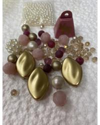 Kit uncinetto - mix elementi Rosa- perle e campana Natale