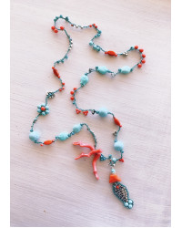 Kit collana uncinetto mare corallo e turchese pesciolino
